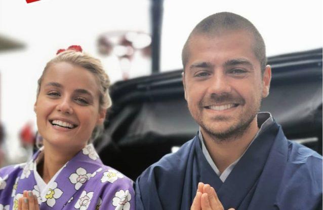 Kelly Bailey e Lourenço Ortigão vestem-se como japoneses em Tóquio