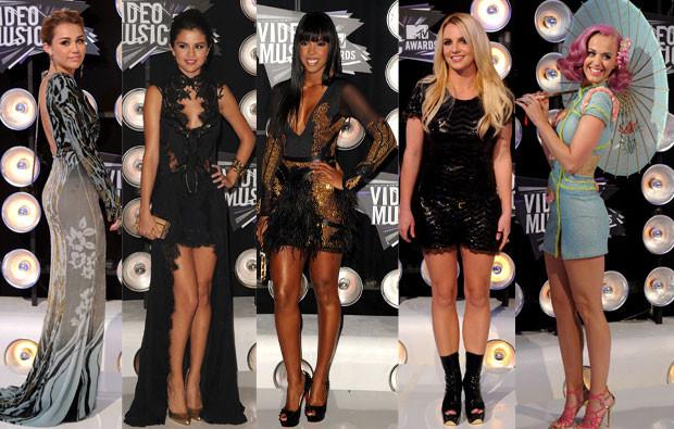 Miley Cyrus, Selena Gomez, Kelly Rowland, Britney Spears e Katy Perry