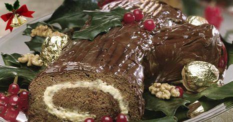 Tronco de natal de chocolate