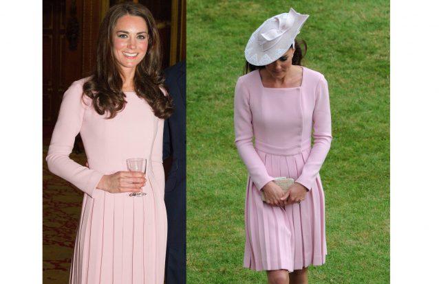 Camilla Parker Bowles optou por um vestido claro Anna