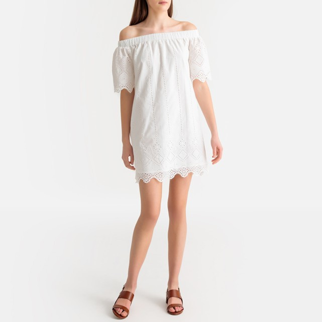 Vestido curto bordado, ombros descobertos, La Redoute, 48,74.jpg