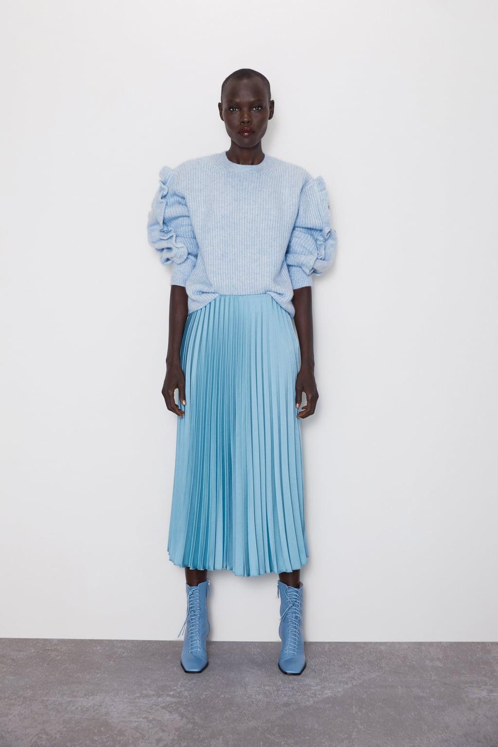 Saia plissa azul, Zara, 25,99 euros.jpg