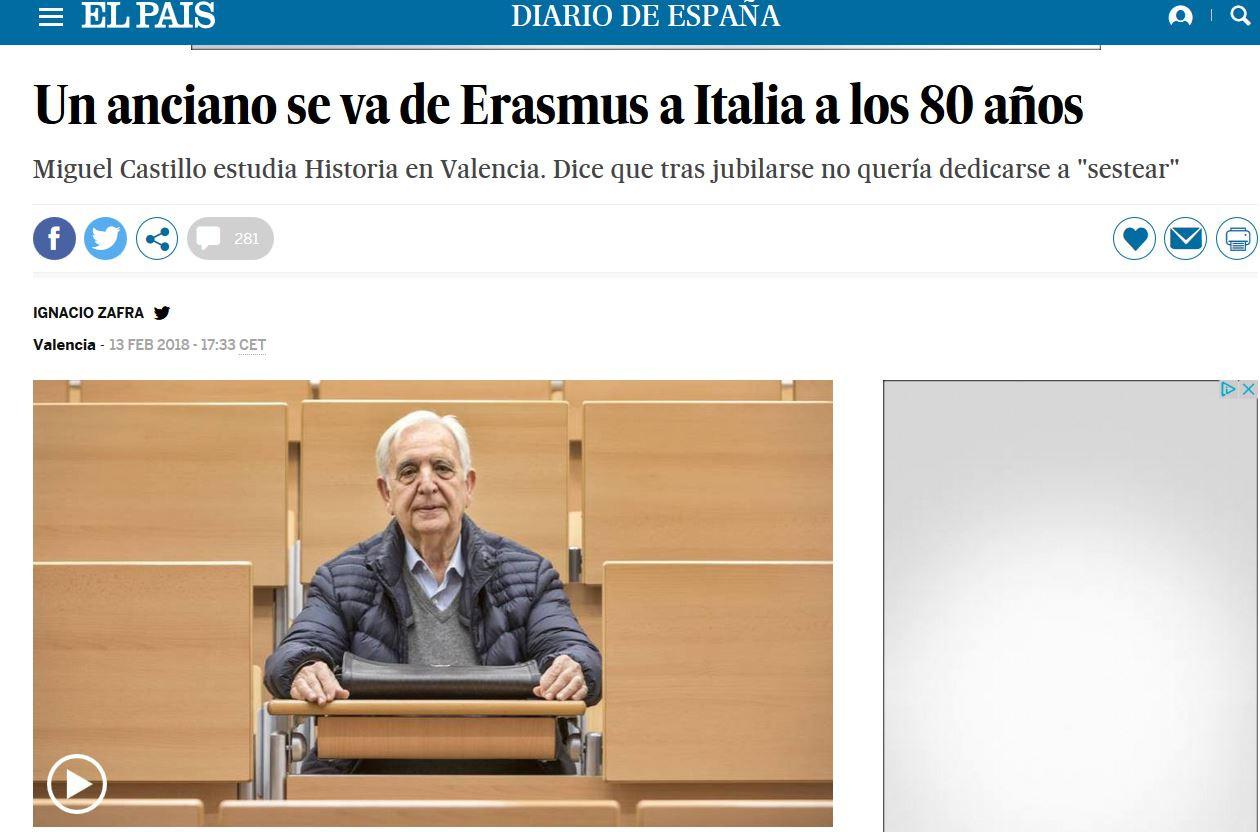 Miguel, 80 anos, estudante Erasmus