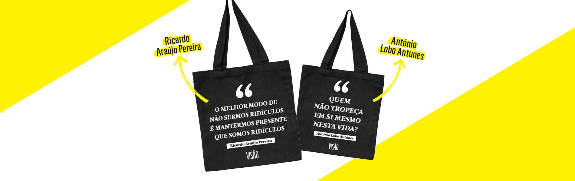 VISÃO oferece sacos de Ricardo Araújo Pereira e António Lobo Antunes com assinatura