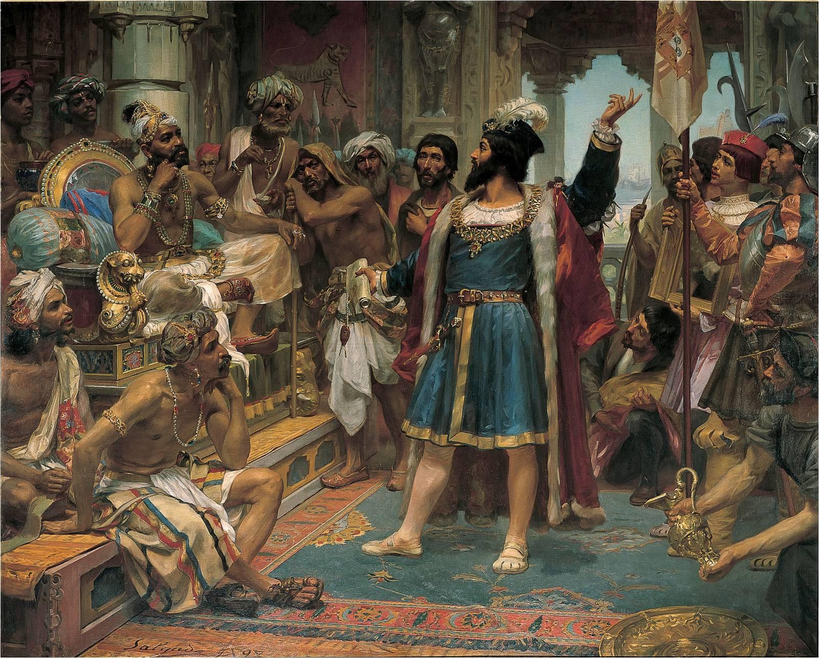 Vasco da Gama perante o samorim de Calecute Veloso Salgado