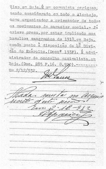 A ficha da PIDE de Gonçalves Correia