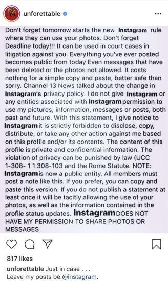 Mensagem falsa Instagram