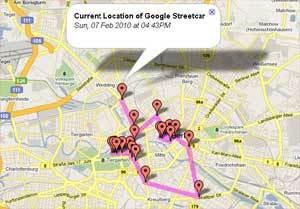 O mapa que mostra o trajecto do carro da Google