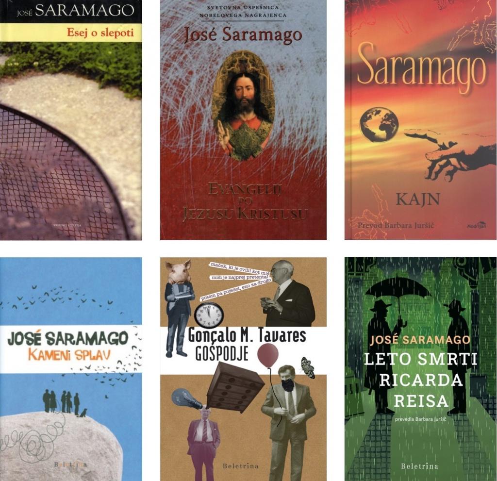 Capas dos vários livros que Barbara Juršič traduziu para a Língua Eslovena, a dar a conhecer a uma larga audiência de leitores eslovenos o Prémio Nobel Português, entre outros autores.