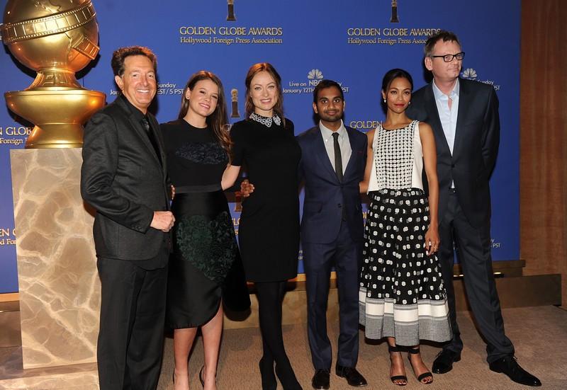 1 Barry Adelman, Sosie Bacon, Olivia Wilde, Aziz Ansari, Zoe Saldana e Theo Kingma.jpg