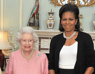 A rainha Isabel II e Michelle Obama
