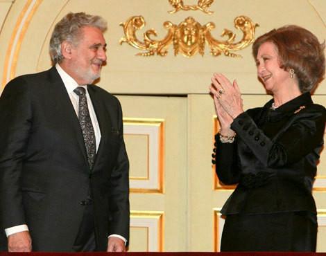 Plácido Domingo e rainha Sofía de Espanha