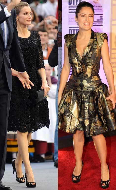 A princesa Letizia de Espanha e a atriz Salma Hayek