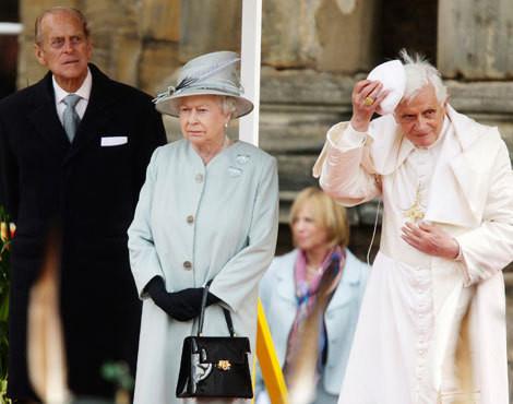 Duque de Edimburgo, rainha Isabel II e Bento XVI