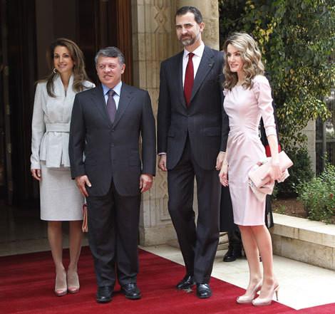 Rania e Abdullah I da Jordânia com Felipe e Letizia de Espanha