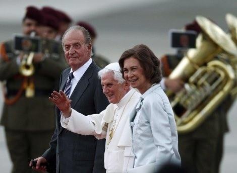 Juan Carlos, Bento XVI e Sofia de Espanha