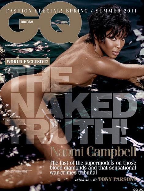 Naomi Campbell na capa da edição inglesa da 'GQ'