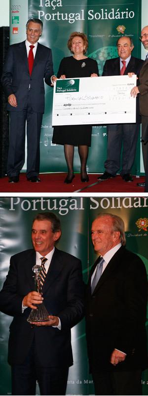 Maria e Aníbal Cavaco Silva divertidos no jantar de encerramento da Taça de Golfe Portugal Solidário