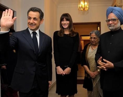 Carla Bruni e Nicolas Sarkozy em visita oficial à Índia