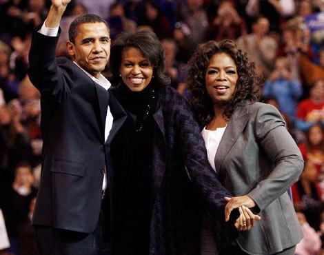 Barack e Michelle Obama com Oprah Winfrey