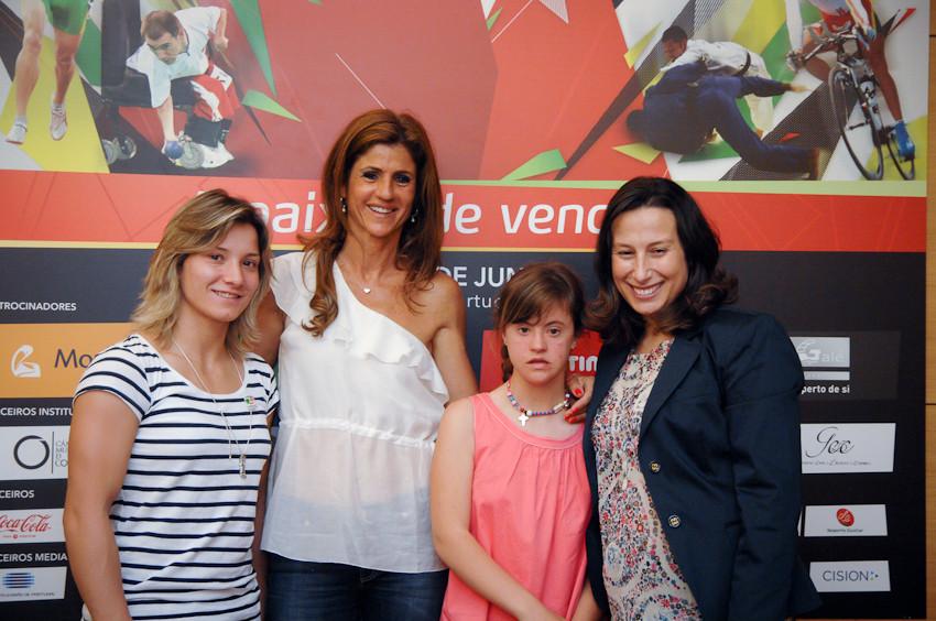 A judoca Telma Monteiro, Bibá Pitta com a filha, Madalena, e a nadadora Leila Marques durante a apresentação dos Jogos de Portugal